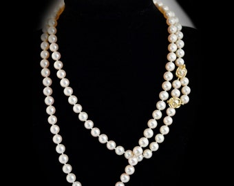Double Stranded Pearl Necklace with 14k Yellow Gold Clasps