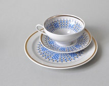 Vintage German tea coffee cup dessert plate German ceramic porcelain 60s Colditz Weisswasser 60s Mid Century Modern gold blue coffee-brown
