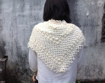 Crochet Shawl, Wedding shawl, Stole Wrap, Ivory Shawl, Bridal shawl, bridal accessories.