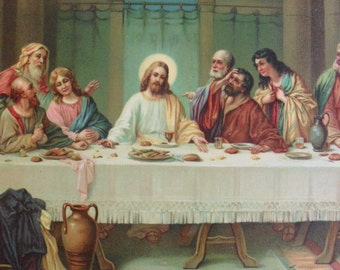 The Last Supper. 1940's Swiss Lithograph Entitled, Coena Domini (The Lord's Supper)
