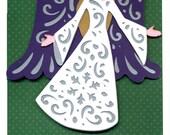Christmas Card with a Joyful Angel and Peace on Earth