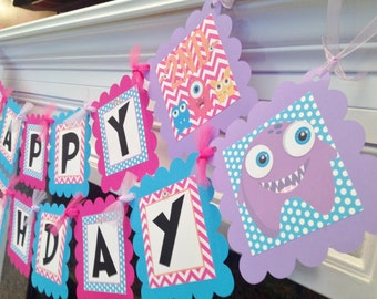 PARTY PACK SPECIAL - Little Monster Birthday Banner -Hot Pink Chevron Blue Polka dots Black accents