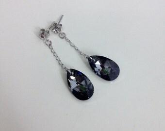 Swarovski Jet Black Pear Teardrop Crystal Japan Earring, Classic Classy Drop Dangle Earring E52