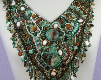 RAINFOREST RHAPSODY- a beautiful and unique hand made bead embroidered statement necklace