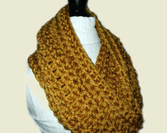 GOLD INFINITY Scarf Cowl Long Knit Chunky Circle Loop Scarf Goldenrod Dark Gold Crochet Mustard Soft Bulky Yarn Gift Idea