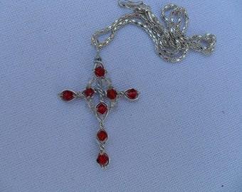 Cross pendant Jewelled Beadwork RenaissanceTudor / Medieval style / Borgia