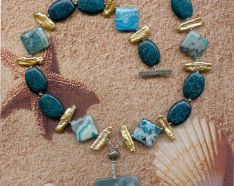 Beyond the Sea - OOAK Amazonite Gemstone Fish Pendant, Leopardskin Jasper, Crazy Lace Agate, FW Pearls, SS Necklace Ocean Beach Jewelry