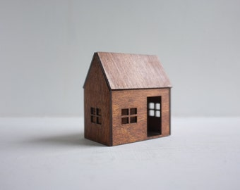 Small birch house - little wooden cabin in golden mahogany finish - honey color miniature architecture