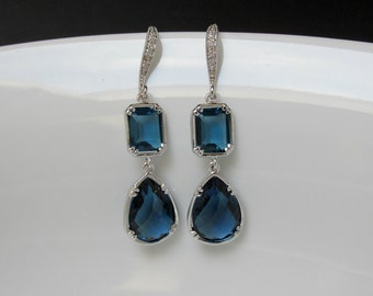 two sapphire earrings , bridesmaids sapphire earring , blue stone earring , cz blue earring , zirconia earwire earrings , blue earring