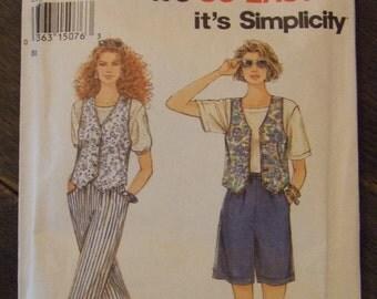 Simplicity 8878 Size A (8-18) Pants Shorts Vest Pattern UNCUT