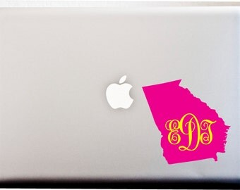 YOUR State Pride Monogram Decal Laptop or Car Decal 2 Color Any State