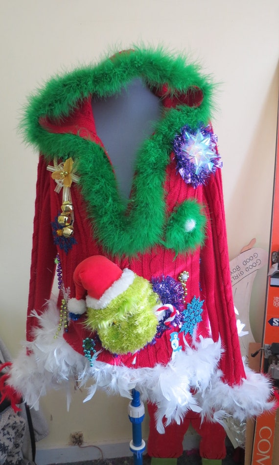 Custom Hood Ornaments >> 3-D Grinch Sexy Tacky Ugly Christmas Sweater Light Up Bow