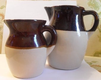 Pair of vintage stoneware pitchers-Robinson Ramsbottom, Roseville, Ohio