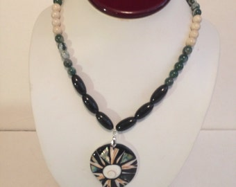 African Green & Black Pendant Necklace