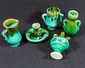 miniature pottery, fairy garden supplies, souvenir from Spain, turquoise pottery, Costa Del Sol, vintage vase