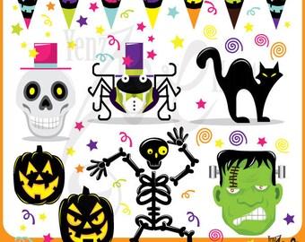 "Holloween ClipArt ""HALLOWEEN CLIP ART"" pack,pumpkin,Skull,pumpkin,black cat,spider, for invitations, scrapbooking and all paper crafts Hs003"
