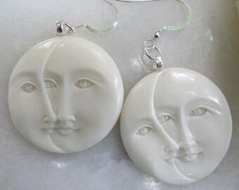 Hand Carved Bone Earrings, Sun & Moon Earrings, Moon and Cresent Earrings, Bali Earrings,  Sterling Silver Earrings, Ivory Statement Earring