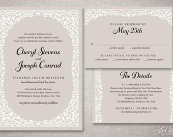 "Rustic Floral Frame ""Cheryl"" Wedding Invitations Suite - Modern Vine Shabby Chic Invite - Custom DIY Digital Printable or Printed Invitation"