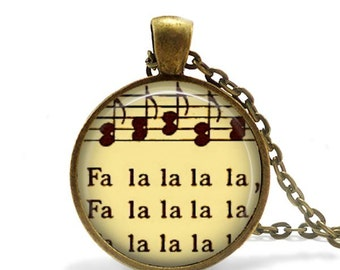 Christmas necklace vintage musical notes sheet music pendant deck the halls music gift.