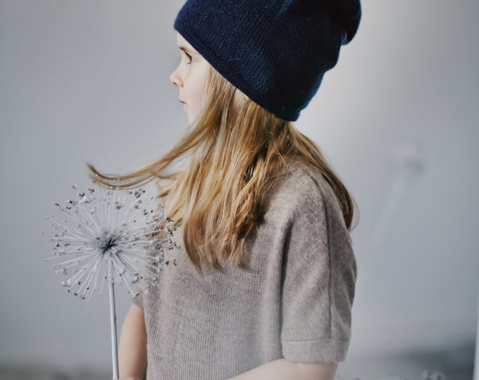 Kids navy hat / baby / children / toddler 6-12 / 12-24 / 2-4 years / alpaca wool slouchy beanie / over-sized gray hat / knit unisex hat