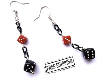 Dice Earrings - dice jewelry -  Lucky 7 - pinup jewelry - retro rockabilly jewelry - gambling charms casino jewelry - geekery - psychobilly
