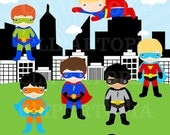 Superhero Boys 2 Digital Clipart / Super Hero Boy Clip art / Superheroes Clipart For personal and Commercial Use