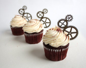 12 Steampunk Gear Cupcake Toppers (Acrylic)