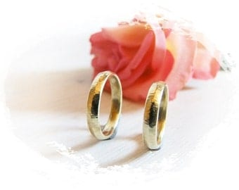 Wedding rings 585Gelbgold with fine hammer
