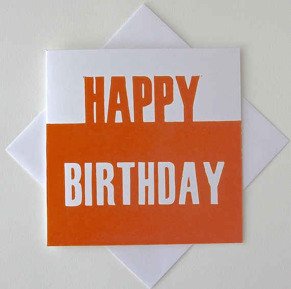 Happy Birthday Card For Him. Lino Print By TheLinoPrintShop