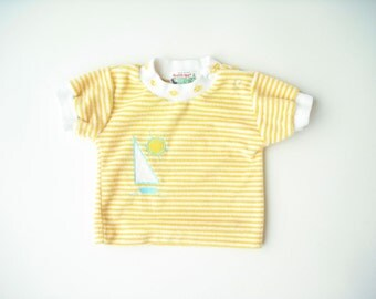 Vintage 80's Health Tex Terry Cloth Shirt / Yellow Stripe Sailboat Top /  3 Months Layette Baby Girl