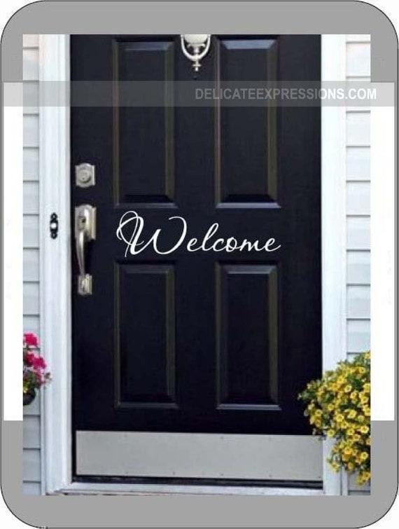 Welcome Door Decal Front Door Decal Welcome Vinyl Decal