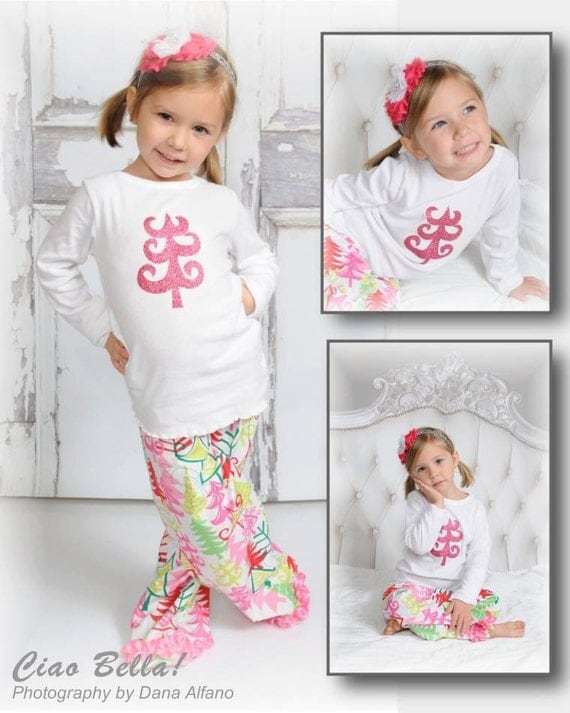 Pink Glitter Christmas Tree Pajamas Girls Christmas Pajamas