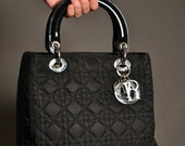 Christian Dior Lady Dior handbag in Black Fabric