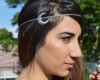 Moon Head Piece // Headdress // Bohemian Head Accessory // Headband // Crescent Hair Accessory // Boho Head Chain