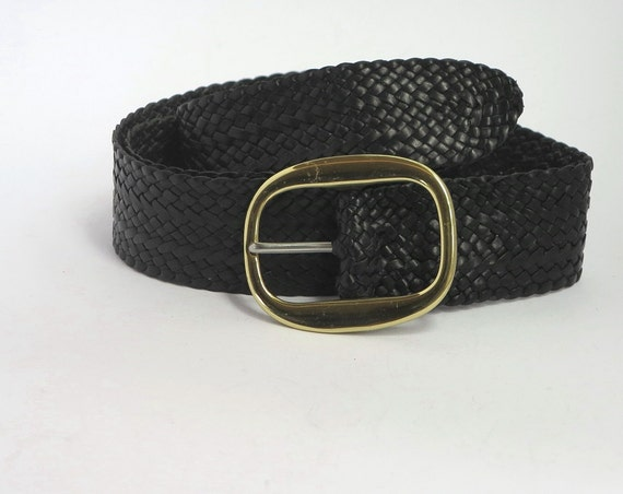 black kangaroo leather plaited belt with solid brass