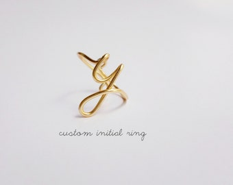 Gold Initial Ring / Bridesmaids Gifts on a Budget Custom initial ring / gold y ring / Rose Gold initial / Silver Initial Ring / Bff gifts