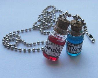Health and Mana Potion Necklace - Handmade Mana and Health potion necklace