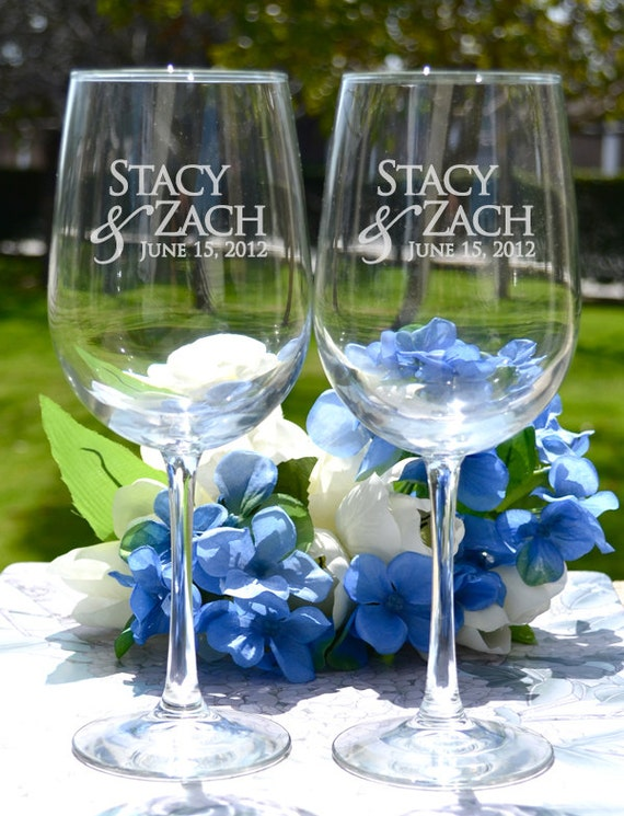 Personalized wine glasses set of two custom by letstietheknot for Etched glass wedding gifts