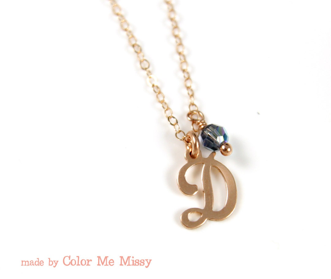Personalized rose gold letter necklace rose gold by for Rose gold personalized jewelry
