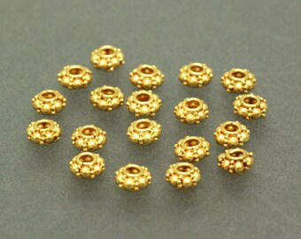 6 of Bali Vermeil Bead Spacer, 24K Gold Plated Sterling Silver, 6.5 mm, V5019