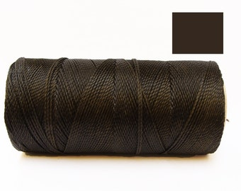 Dark Brown Waxed Cord Macrame Cord spool of 188 yards