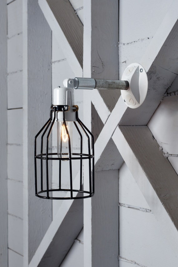 Industrial Wall Lamp Outdoor Black Wire Cage Exterior Wall