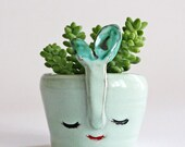 Ice soft pale green smiling vase with green flower- wheel thrown, handmade ceramics, one of a kind vase