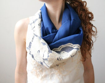Cobalt Blue Chiffon Circle Scarf with Lace, Lightweight Infinity Scarf