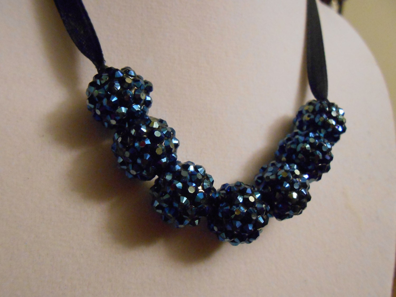 Navy ribbon tie rhinstone beaded necklace by lascrafty on etsy for Ribbon tie necklace jewelry
