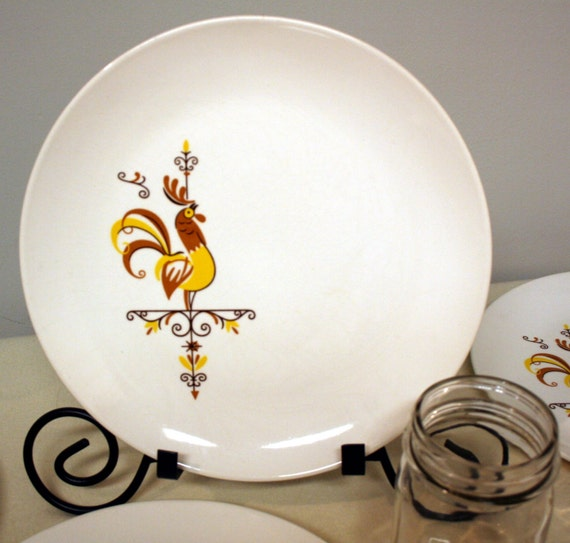 Il_570xn & Weathervane pattern-dinner plates-set of 5-retro rooster dishes-gold ...