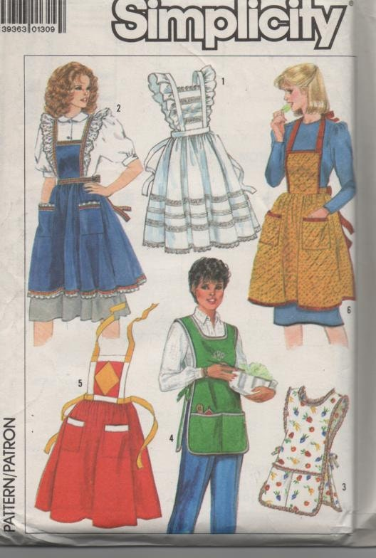 simplicity 7647 vintage set of apron patterns one size front