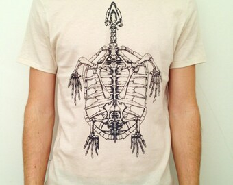 SALE! Skeleturtle on Natural / Organic Alternative Apparel / Small
