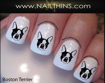 Boston Terrier Nail Decal Dog Nail Design Canine Nail Art NAILTHINS