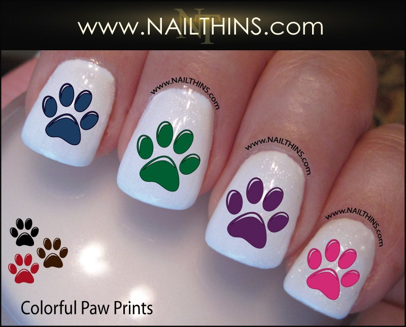 🔎zoom - Colorful Paw Prints Nail Decal Colorful Dog Paw Nail Design